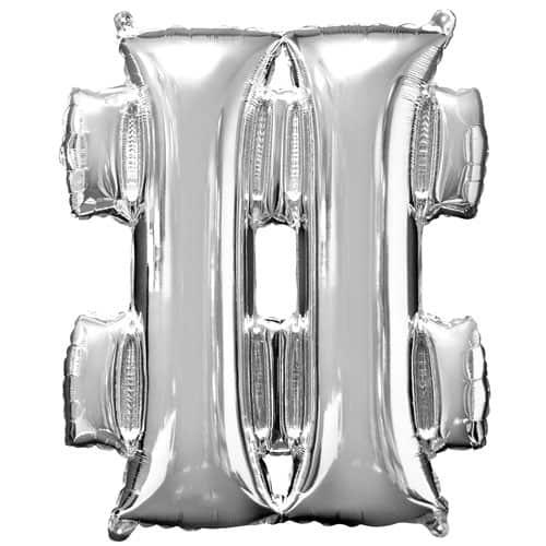 Silver Hashtag Minishape Air Fill Foil Balloon 41cm / 16Inch Product Image