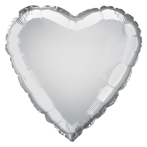 Silver Heart Foil Helium Balloon 46cm / 18Inch Product Image