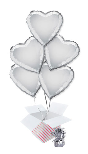 Silver Heart Foil Helium Balloon Bouquet - 5 Inflated Balloons In A Box Product Image