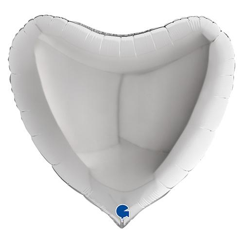 Silver Heart Shape Foil Helium Giant Balloon 91cm / 36 in