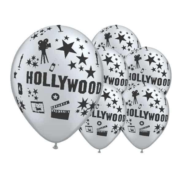Silver Hollywood Theme Latex Balloon - 12 Inches / 30cm - Pack of 6