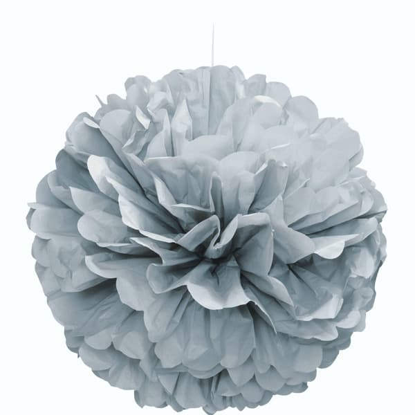 Silver Honeycomb Hanging Decoration Puff Ball 40cm Product Image