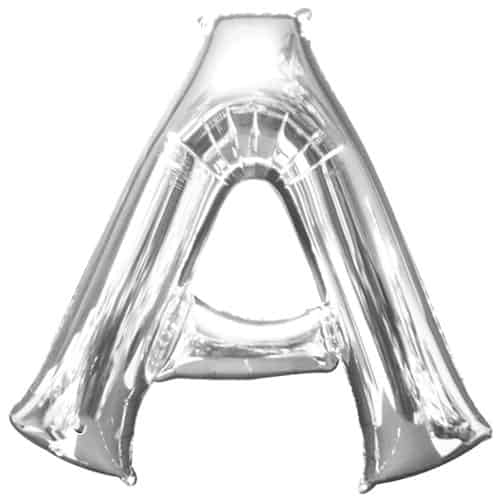 Silver Letter A Air Fill Foil Balloon 40cm / 16Inch Bundle Product Image