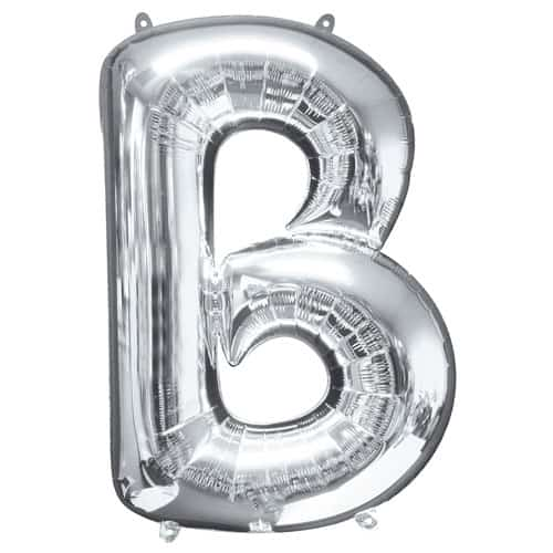 Silver Letter B Air Fill Foil Balloon 40cm / 16Inch Bundle Product Image