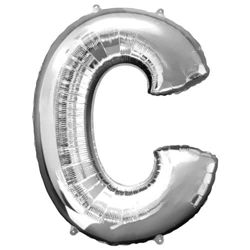 Silver Letter C Air Fill Foil Balloon 40cm / 16Inch Bundle Product Image