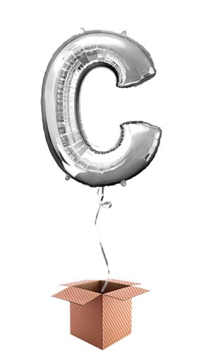 Silver Letter C Helium Foil Giant Balloon - Inflated Balloon in a Box Product Image