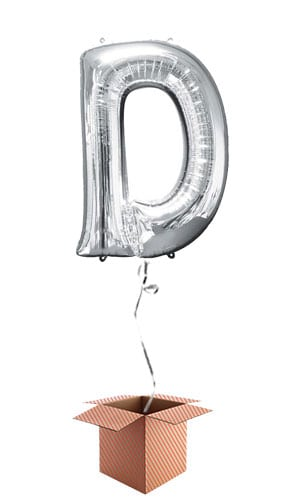 Silver Letter D Helium Foil Giant Balloon - Inflated Balloon in a Box Product Image