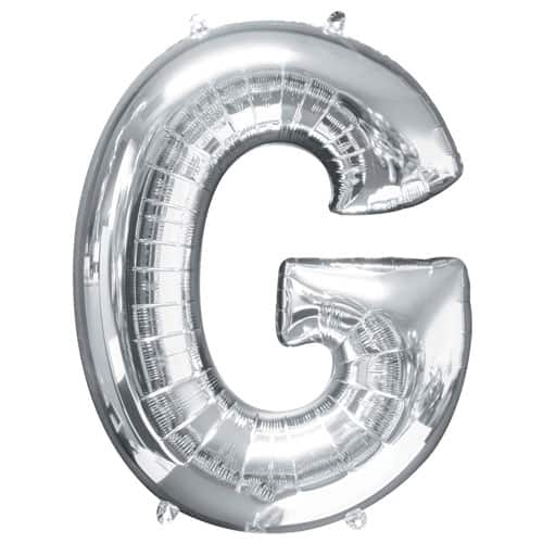Silver Letter G Air Fill Foil Balloon 40cm / 16Inch Product Image