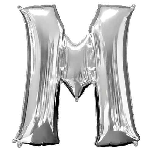 Silver Letter M Helium Foil Giant Balloon 83cm / 33 in Product Image