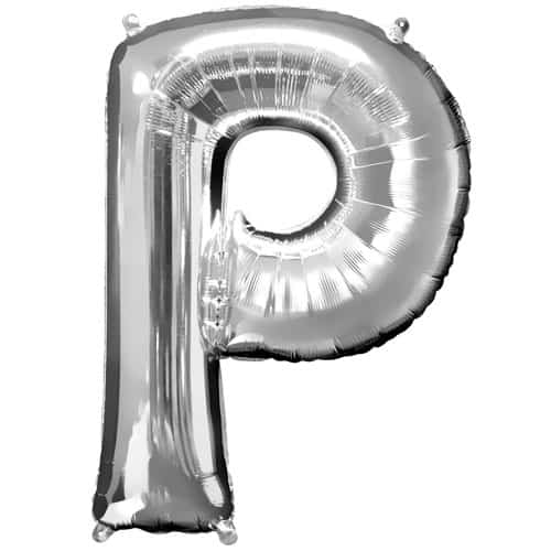 Silver Letter P Air Fill Foil Balloon 40cm / 16Inch Product Image