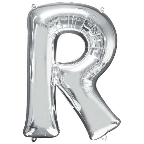 Silver Letter R Air Fill Foil Balloon 40cm / 16Inch Bundle Product Image