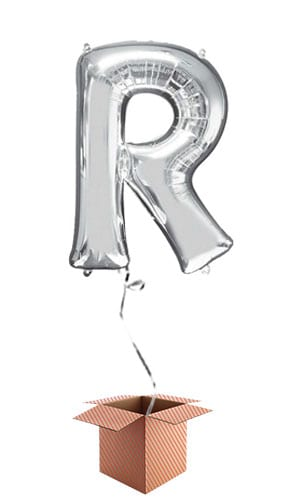 Silver Letter R Helium Foil Giant Balloon - Inflated Balloon in a Box Product Image