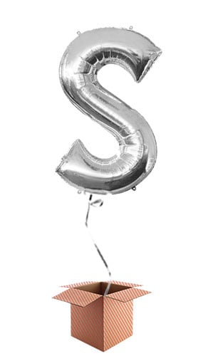 Silver Letter S Helium Foil Giant Balloon - Inflated Balloon in a Box Product Image