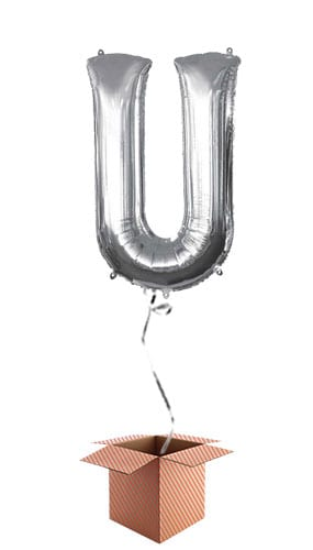 Silver Letter U Helium Foil Giant Balloon - Inflated Balloon in a Box Product Image