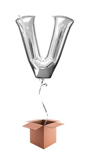 Silver Letter V Helium Foil Giant Balloon - Inflated Balloon in a Box Product Image