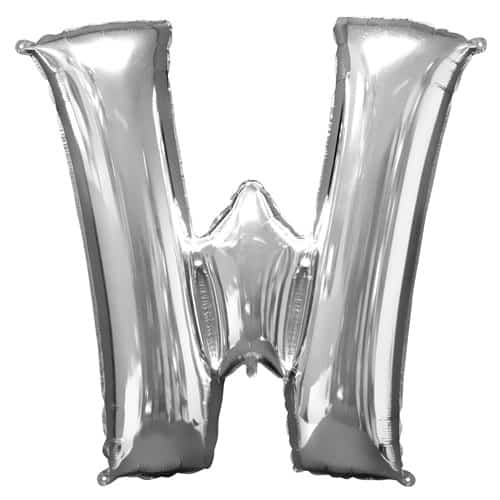 Silver Letter W Air Fill Foil Balloon 40cm / 16Inch Product Image