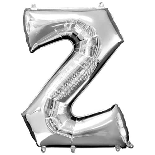 Silver Letter Z Air Fill Foil Balloon 40cm / 16Inch Product Image