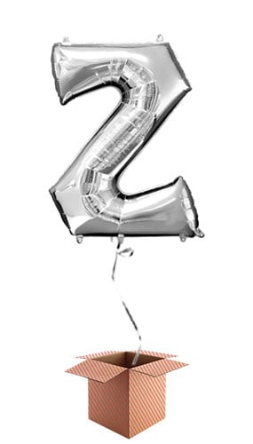 Silver Letter Z Helium Foil Giant Balloon - Inflated Balloon in a Box Product Image