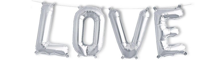 Silver LOVE Air Fill Foil Balloon Kit 41cm / 16Inch Product Image
