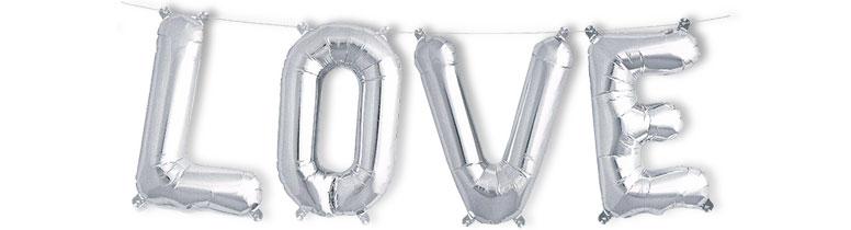 Silver LOVE Air Fill Foil Balloon Kit 41cm / 16Inch