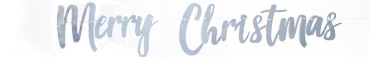 Silver Merry Christmas Cardboard Banner 150cm Product Image