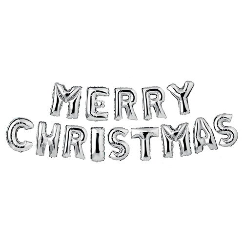 Silver Merry Christmas Foil Balloon Banner Product Image