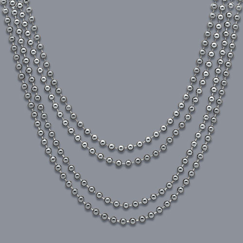 Silver Metallic Bead Necklaces - Pack of 4 Product Image