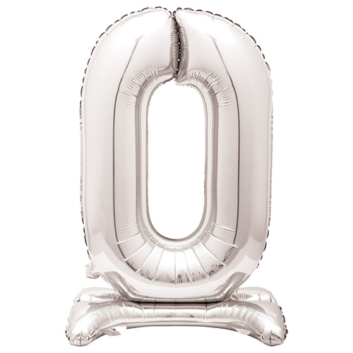 Silver Number 0 Shaped Air Fill Standing Foil Balloon 76cm / 30 in Product Image