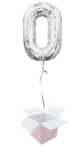 Silver Number 0 Helium Foil Giant Balloon - Inflated Balloon in a Box Product Image
