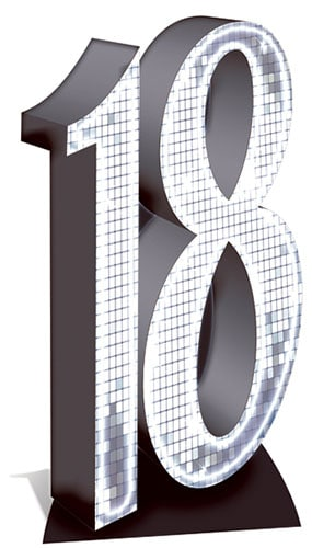 Silver Number 18 Lifesize Cardboard Cutout - 176cm