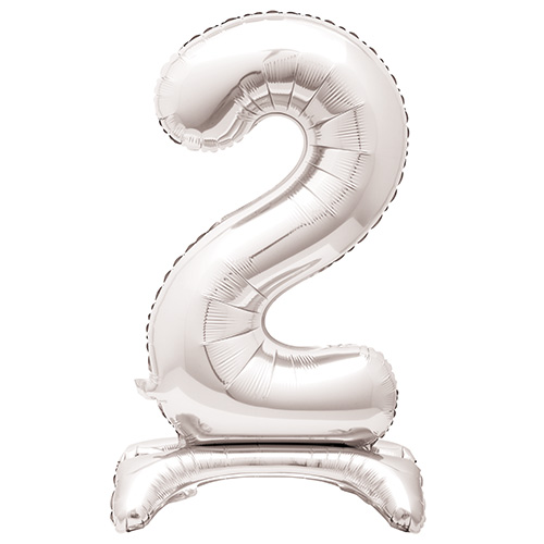 Silver Number 2 Shaped Air Fill Standing Foil Balloon 76cm / 30 in