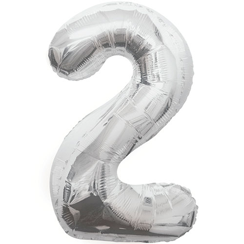 Silver Number 2 Helium Foil Giant Balloon 86cm / 34 in