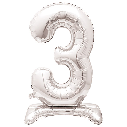 Silver Number 3 Shaped Air Fill Standing Foil Balloon 76cm / 30 in