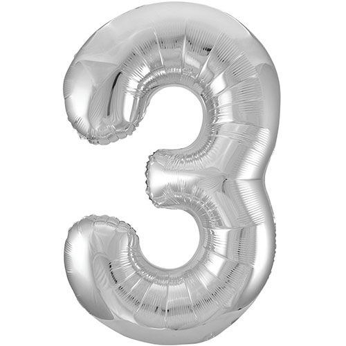 Silver Number 3 Helium Foil Giant Balloon 86cm / 34 in Bundle Product Image