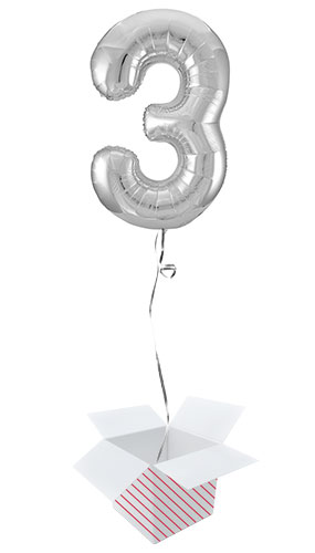 Silver Number 3 Helium Foil Giant Balloon - Inflated Balloon in a Box Product Image