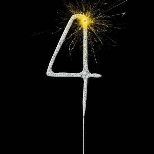 Silver Number 4 Non Hand Held Sparkler 17cm Product Image