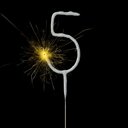 Silver Number 5 Non Hand Held Sparkler 17cm Product Image
