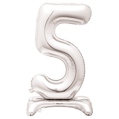 Silver Number 5 Shaped Air Fill Standing Foil Balloon 76cm / 30 in