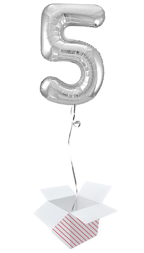 Silver Number 5 Helium Foil Giant Balloon - Inflated Balloon in a Box