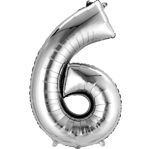 Silver Number 6 Air Fill Foil Balloon 40cm / 16 in Product Image