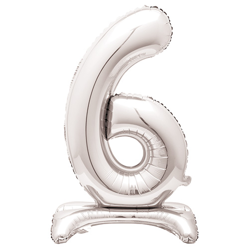 Silver Number 6 Shaped Air Fill Standing Foil Balloon 76cm / 30 in