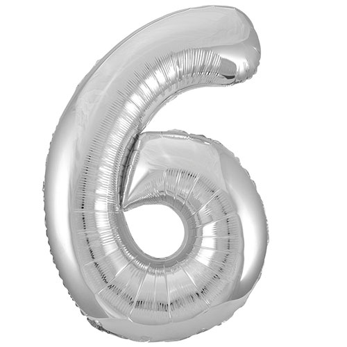 Silver Number 6 Helium Foil Giant Balloon 86cm / 34 in Bundle Product Image