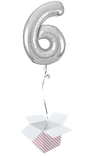 Silver Number 6 Helium Foil Giant Balloon - Inflated Balloon in a Box Product Image