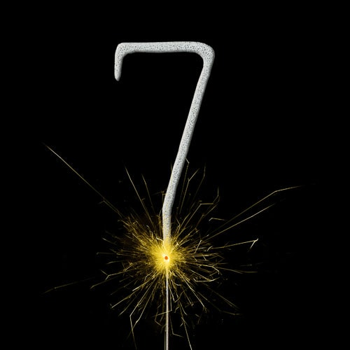 Silver Number 7 Non Hand Held Sparkler 17cm Product Image