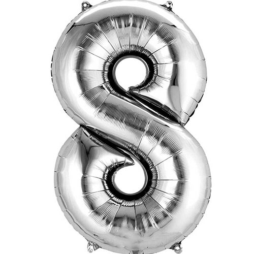 Silver Number 8 Air Fill Foil Balloon 40cm / 16 in Product Image