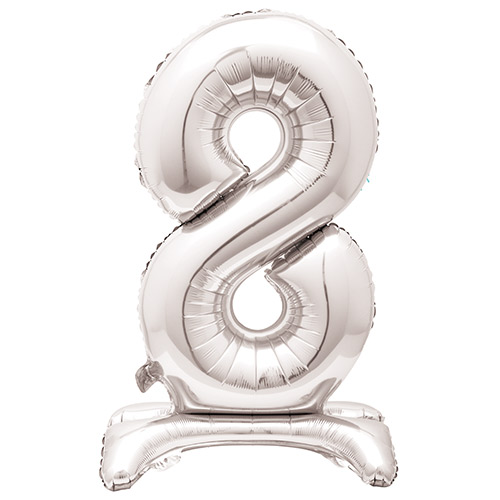 Silver Number 8 Shaped Air Fill Standing Foil Balloon 76cm / 30 in