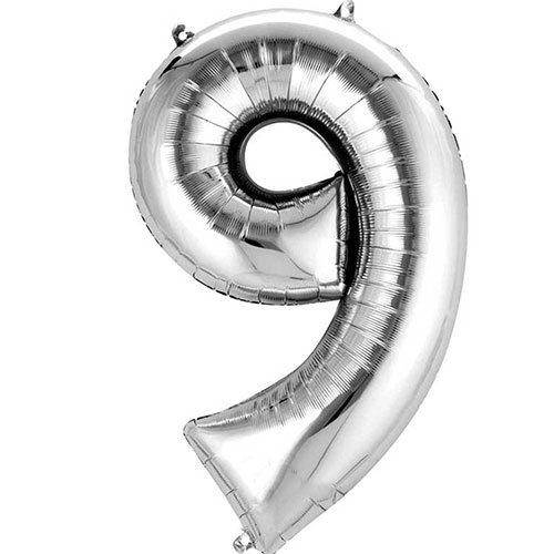 Silver Number 9 Air Fill Foil Balloon 40cm / 16 in Product Image