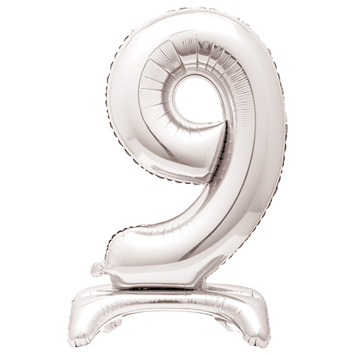 Silver Number 9 Shaped Air Fill Standing Foil Balloon 76cm / 30 in