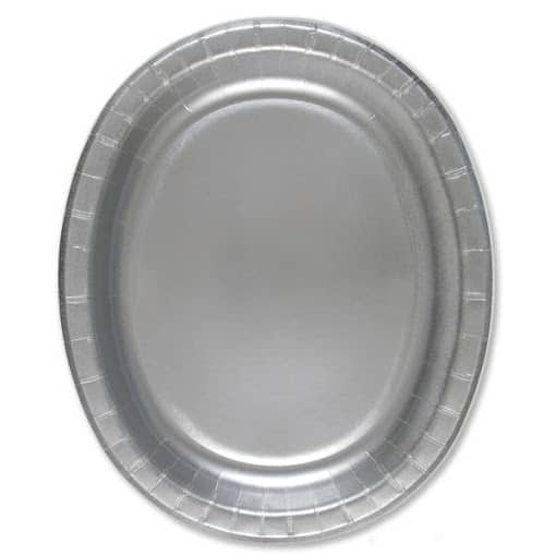 Silver Oval Paper Plates 30cm - Pack of 8