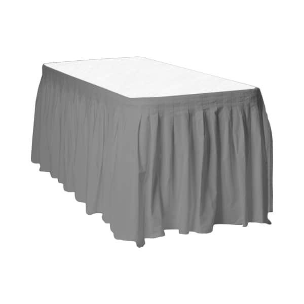 Silver Plastic Table Skirt - 426cm x 74cm